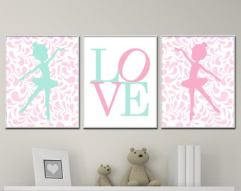 Baby Girl Nursery Art, Ballerina Nursery Art and Love Print, Suits Pink and Mint Nursery Decor & Bedroom Decor-H224
