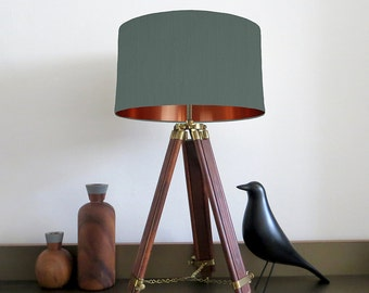 Bespoke Bottle Green lampshade with Copper Mirrored Metallic Lining