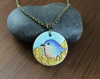 Rustic Romantic ~ Blue Bird ~ pendant necklace