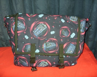 Messenger bag made from Tardis fabric
