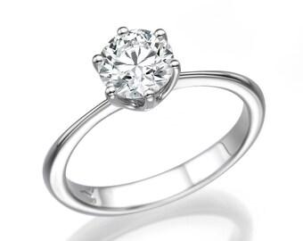 0.75 CT Solitaire Diamond Engagement Ring Platinum Round F VS1 Model PR-R1