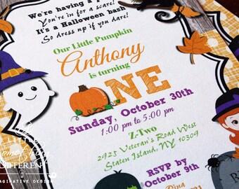Halloween Birthday Invitation / Trick or Treat Birthday Invitation / Halloween Bash Invitation / Halloween Party Invitation / Fall