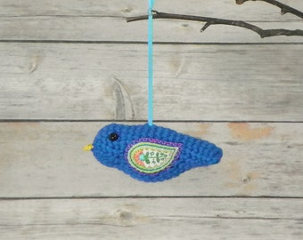 Ocean Blue Crocheted Bird With Embroidered Wings
