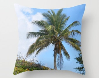 Palm Tree, Pillow Cover, 6 sizes, home decoration,blue, green, coconuts, landscape, island living, modern design,nautical,beach decor,costal