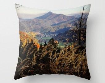 My Mountain, Pillow Cover,6 sizes,brown,green,home decor,landscape,modern,Accent Pillow,Decorative Pillow,Alps,Throw pillow,Interior Design