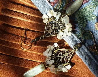 Labradorite & Quartz Chandelier Earrings