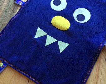 Handmade Blue Fleece Monster Security Blanket
