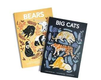 Natural History, Bears & Big Cats - Set of Two Lined // Plain A6 Notebooks