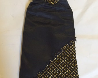 Scarce Vintage Dutch Fleur Doll Black And Gold Evening Gown - Fashion Doll Clothes