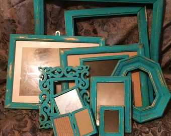 Sale - 13 Reclaimed Hand Painted Dark Turquoise Picture Frames - Shabby Chic, Wedding Decor, Nusery Decor