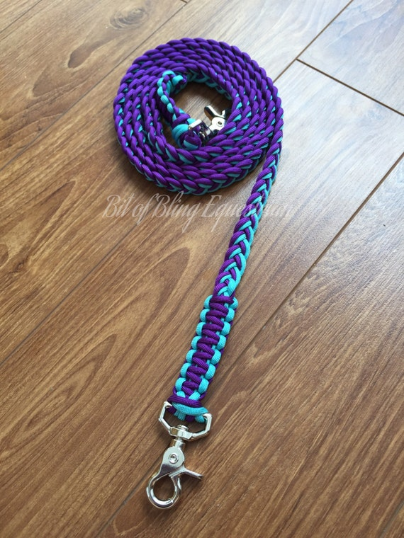 Day For Night Paracord Reins - Purple and Turquoise