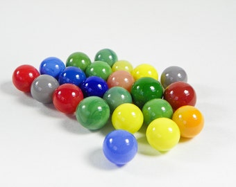 Twenty One Vintage Colorful Opaque Marbles - 15mm - Playing Marbles - Red Green Yellow Brown