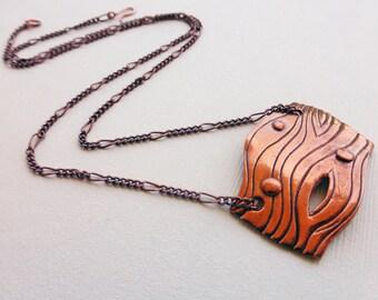 Flowing Lines Copper Pendant