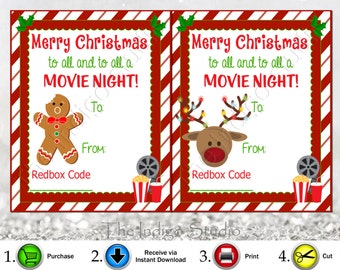 Redbox Codes gift Tags 4 Different Designs Cards Digital Printable  Merry Christmas to all and to all a Movie Night  REDBOX Code Movie Gifts