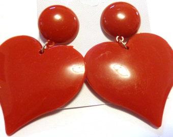 VINTAGE Earrings HEART earrings Red Black or White Earrings Pierced Earrings