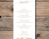 Wedding or Shower Dinner Menu Print Yourself Peach and Coral Anemone