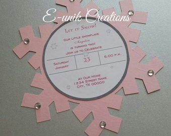 Snow Flake Birthday Invitation