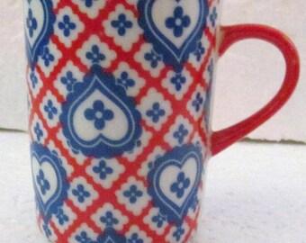 Taste Setter Collection Blue Hearts Red Stripes Porcelain Slender Small Mug TSA3