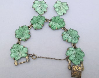 Demi Parure Glass Leaf Bracelet & Earrings Signed Judy Lee Frosted Glass Speckled Art Glass