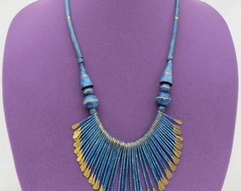 Blue Golden Metal Spikes and Blue Ceramic Necklace- Made in India
