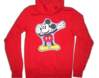Red Mickey Mouse Custom Hooded Hoodie Hoody Sweatshirt