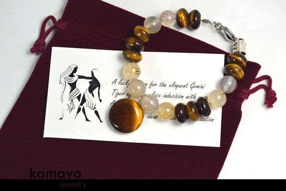 """GEMINI BRACELET - Tiger Eye Pendant and Grey Agate Beads - 7 1/2"""" - Fits Wrist of Up to 6"""""""