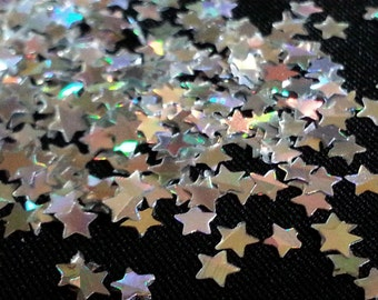 solvent-resistant glitter shapes-silver hologram small stars