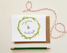 Christmas Card // Evergreens & Twinkle Lights // Evergreen Wreath // Holiday Wreath Card