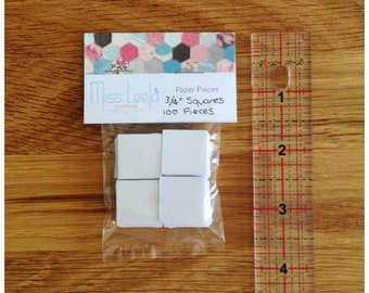 """100 Three Quarter Inch (3/4"""") Square Paper Pieces - English Paper Piecing - Patchwork Quilting"""