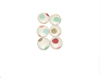 Fabric Covered Button Magnet - set of six