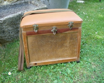 French vintage fishing seat box , storage fishing stool , wood and leatherette , with solid strap, nice condition
