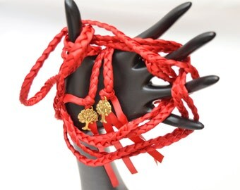 Red Passion Gold Purification Tree of Life Wedding Ceremony Handfasting Cord