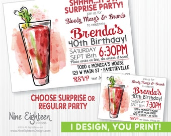 Surprise Party Invitation. Bloody Mary Brunch theme. Custominzed Printable Invitation PDF/JPG.