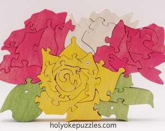 Roses Jigsaw Puzzle Sculpture - Flower Jigsaw Puzzle