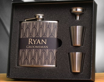 10 - Groomsmen Gift, Art Deco Wedding, Flask Gift Sets