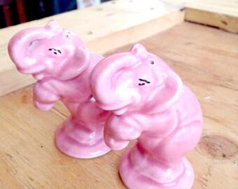 Pair of Pink Elephant Salt + Pepper Shakers Mid Century