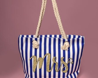 Cute Mrs. with diamond ring Tote with blue and white vertical stripes