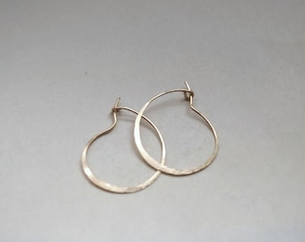 "Small Gold Hoop Earrings 1"" Hammered Thick Small Hoop Earrings Gold Filled Hoop Earrings Hammered Hoop Earrings Classic Hoops"