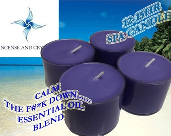 Calm The F#*k Down Essential oil 12-15 Hr Spa Candles Calming, Soy Wax in R/Cyclable poly cups