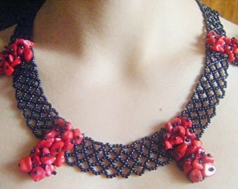 Red Coral and bead handmade neacklase
