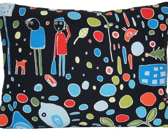 SALE Now on 7.99 Was 9.99 Black Cushion Cover Ikea Throw Pillow Case Decorative Printed Fabric Textile Floral Multicoloured Green Blue Red