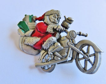 Vintage Spoontiques Santa Delivers Gifts On Harley Motorcycle Brooch Pin