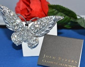 Joan Rivers Rhinestone Wide Winged Butterfly Brooch with card bag and Box ships in 24 Hrs