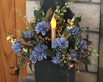 Blue Floral Arrangement in Country Wooden Box with Candle
