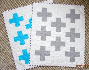 Custom Made Baby Quilt | Made To Order Baby Quilt | Plus Sign Baby Quilt | Modern Baby Quilt | Baby Shower Gift