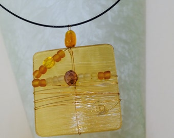 Yellow Brown stained glass necklace,  pendant