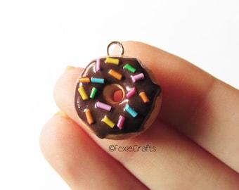 Chocolate Glazed Donut with Sprinkles - Cute Kawaii Miniature Food Polymer Clay Charm