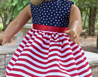 """American Doll Clothes Dress Fits 18"""" Girl Doll - USA  Red White and Blue"""