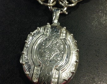 Locket, Sterling silver victorian style locket , chain sold sorry