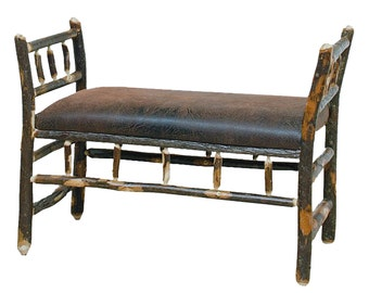 Rustic Hickory Sleigh Bench upholstered with Distressed Faux Leather Fabric